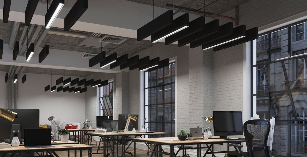 Showcase of the Acoustic EOS 1.0a fixtures in an office space.