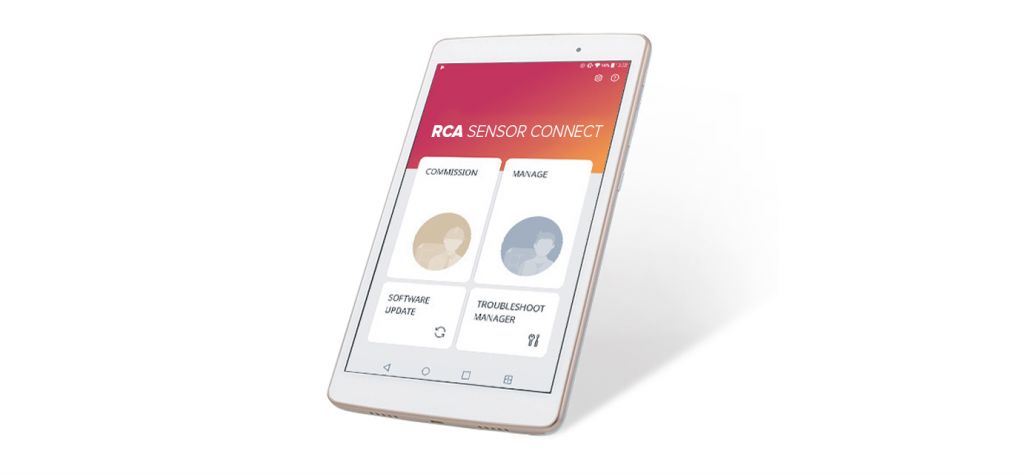 Image of the Sensor Connect app. on a android tablet.